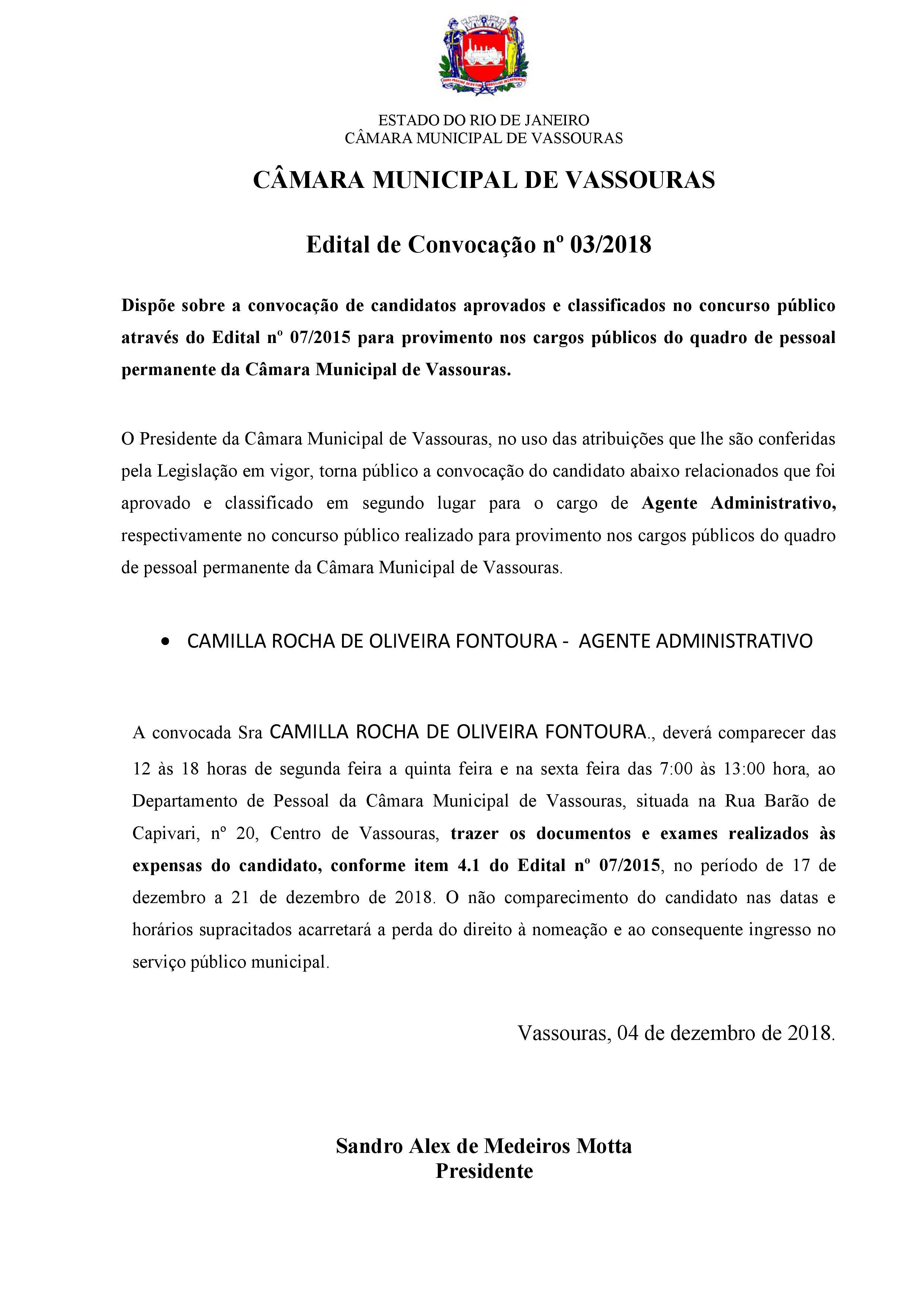 Edital de Convocação 03/2018